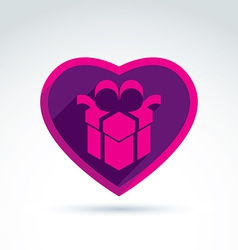A purple gift box sign placed in a heart vector