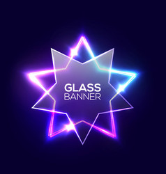 abstract neon star with transparent glass plate vector image