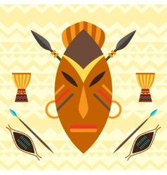 African ethnic background with mask vector