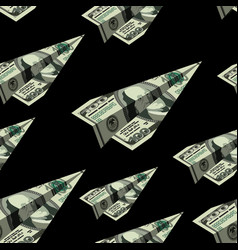 Aircraft dollars seamless pattern money banknote vector