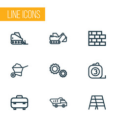 architecture icons line style set with digger vector image