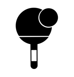 Black icon ping pong paddle and ball vector