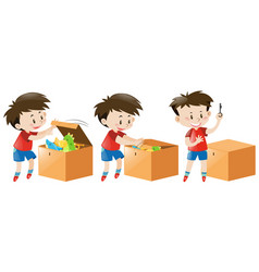 Boy opens box full of toys vector