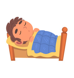 Boy sleeping in his bed schoolboy daily routine vector