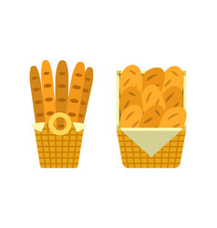 bread and buns in basket showcase of bakery seller vector image