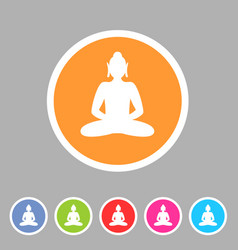 Buddha statue buddhism icon flat web sign symbol vector