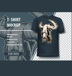 bull skull mockup for printing layout as an offer vector image
