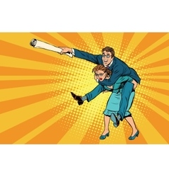 Business people man riding on woman attack vector image