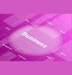 business words isometric 3d word text concept vector image