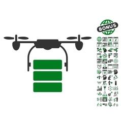 Cargo Drone Icon With Bonus vector image