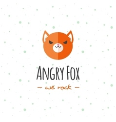 cartoon fox head logo Flat logotype vector image