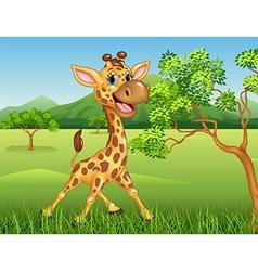 Cartoon giraffe character on jungle background vector