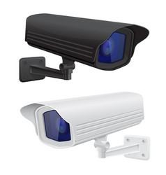 Cctv security surveillance camera black and white vector