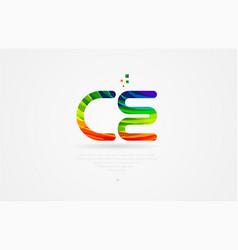 Ce c e rainbow colored alphabet letter logo vector