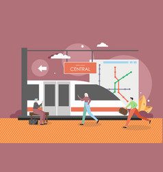 city subway station people waiting for train on vector image
