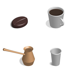 coffee set in 3d vector image