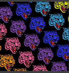 colorful tigers pattern vector image