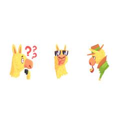 Cute lama character showing tongue and smoking vector