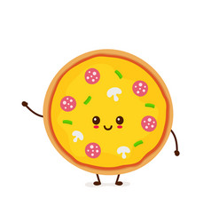 cute smiling funny cute pizza vector image