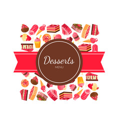 desserts menu banner template tasty sweets vector image