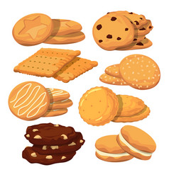 Different cookies in cartoon style icons vector