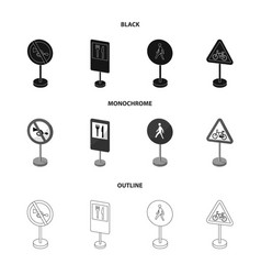 Different types of road signs blackmonochrome vector