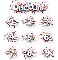 Discount signs paper set vector