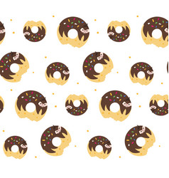 donut sloth pattern vector image