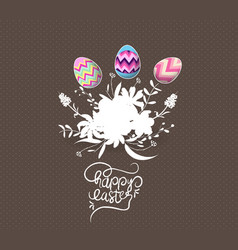 Easter egg invited with flowers greeting card vector