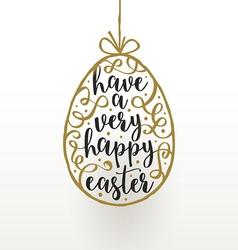 Easter greeting card hanging easter egg vector