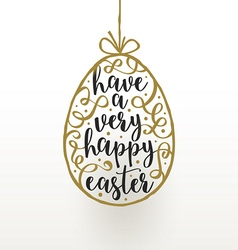 Easter greeting card hanging easter egg with vector