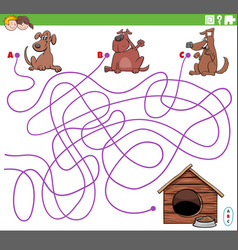 Educational maze game with cartoon dogs characters vector