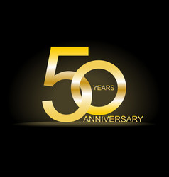 fifty years anniversary celebration gold logotype vector image