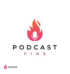 fire flame podcast mic logo design vector image