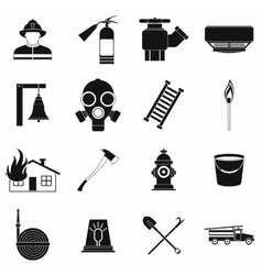 Firefighter black simple icons set vector