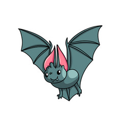 flying dark grey bat with white teeth and red ears vector image