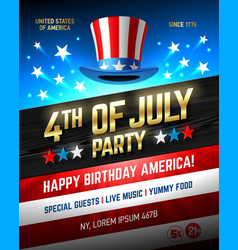 Fourth of july usa independence day party poster vector