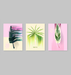 futuristic tropical posters set with glitch effect vector image