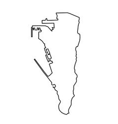 Gibraltar map of black contour curves on white vector