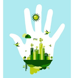 Go green city hand concept vector