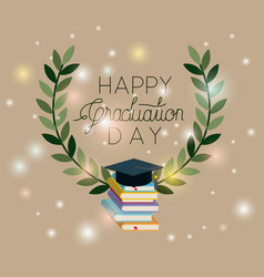 graduation card with books and hat vector image