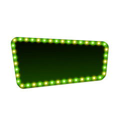 green street signboard blank 3d retro light sign vector image