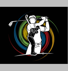Group golf players golfer action cartoon sport vector