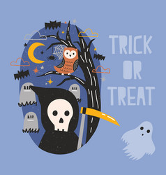 halloween banner with grim reaper holding scythe vector image