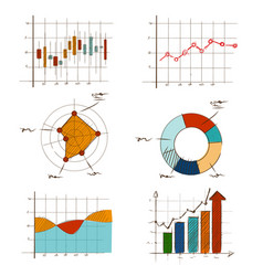 hand drawing chart graphic collection set vector image