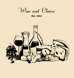 hand drawn vintage set of cheese and wine vector image