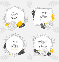 hand drawn yellow floral frame background vector image