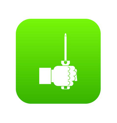 hand holding screwdriver tool icon digital green vector image