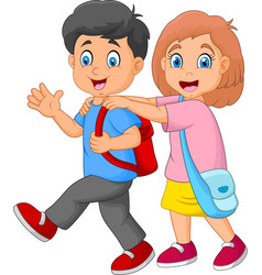 happy kids going to school vector image