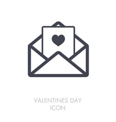 happy valentine day card in envelope icon vector image